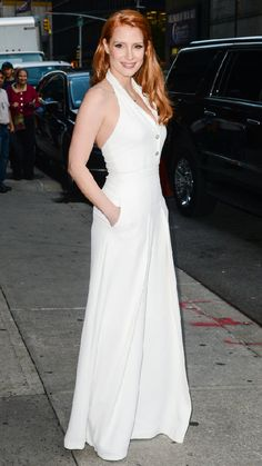 Jessica Chastain visited The Late Show with David Letterman in a white Temperley London Jumpsuit