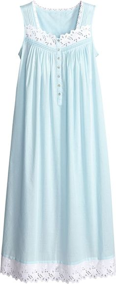 3718c54a0b Slip into this turquoise sleeveless gown accented with pretty eyelet trim