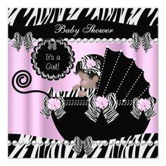 Baby Shower Cute Baby Girl Pink Zebra Pram Personalized Invite