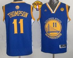 Only $26.88 please email me at maryjerseyelway@gmail.com for Revolution 30 Warriors 11 Klay Thompson Blue The 2015 Finals Patch Stitched Youth NBA Jersey