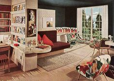 Mid-century Living Room with built-ins