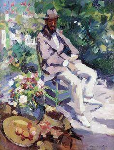 Konstantin Alexeevich Korovin, 1861-1939: 'Portrait of Seated Man With Beard', o/c 86.5 by 66cm