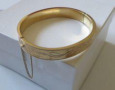 Vintage Krementz Bracelet 14kt Gold Overlay Hinged by baublology