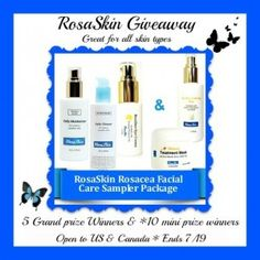 RosaSkin care giveaway. Wonderful for sensitive skin and roseacea and great for any skin type. 15 winners!