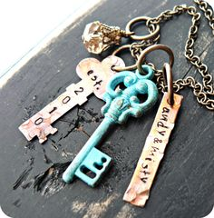 Vintage Style Charms - Mixed Metals - Hand Stamped Jewelry - Keys   Must try!  #ecrafty @Kim at eCrafty.com #stampedmetalblanks #jewelrysupplies  #stampedmetaljewelry #necklacesupplies #ballchainnecklaces #jumprings #metalstampingblanks
