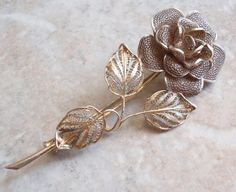 Filigree Rose Brooch 800 Silver Italian Jewelry Perpetual Rose Vintage Estate V0322