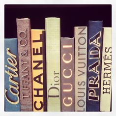 For the fashionista bookworm - a little name dropping to adorn your bookshelves! Fabulous decorative books! J Douglas IHFC #hpmkt #stylespotters #Chanel #Hermes #Prada #Tiffany #Cartier #Dior #LouisVuitton #Gucci