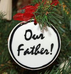 Handmade - Black & White Flat Ornament - Our Father (Gifts for Christian Occasions / Christian Christmas Decor / Christian Christmas Ornaments) Ceramic Christmas Trees, Christmas Tree Ornaments, Christmas Decorations, Holiday Decor, Christian Christmas, Christian Gifts, White Flats, Gifts For Father, Ceramic Pottery