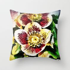 Hellebore Throw Pillow by Post Haste Art - $20.00
