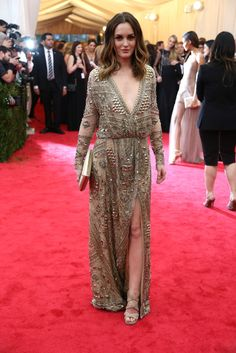 Met Ball Gala Red Carpet Arrivals - 2014 - Dress Code - White Tie & Tails . . . Leighton Meester in Pucci