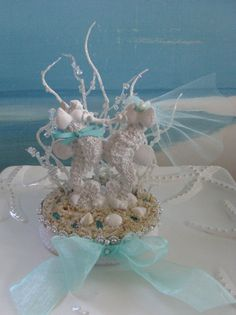 Seahorse Seashell Wedding Cake Topper Coral By CeShoreTreasures