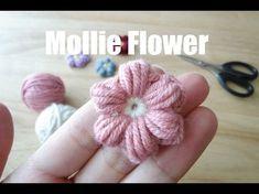 かぎ針編みの玉編みの花(長々編み5目)の編み方  How to Crochet 3D-flower / Crochet and Knitting Japan - YouTube