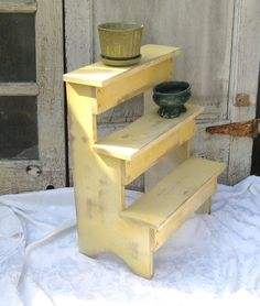 Rustic distressed shelf standing plant stand by MyShabbyChicShop, $125.00