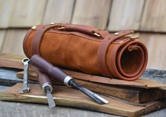 Hand made leather tool roll wrench roll tool by Rivetandleatherco