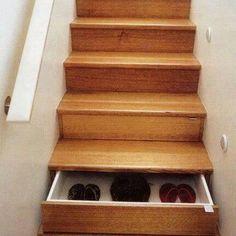Under stairs storage idea