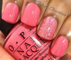 Watermelon pink nails
