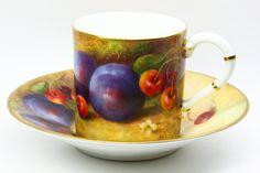 Royal Worcester Fruit Cup and Saucer hand painted and signed by Richard Sebright
