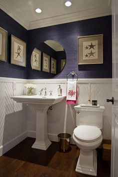 navy blue grasscloth- powder room, guest bath- love the wainscoting, dark floors Grasscloth, Interior, Powder Room, Very Small Bathroom, Home Decor, Wainscoting, White Bathroom, Bathroom Design, Beautiful Bathrooms