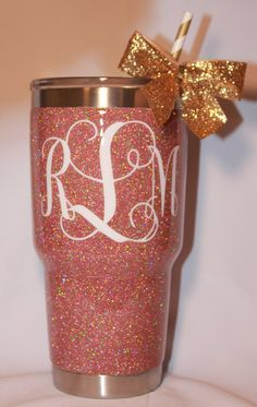 Engagement/ wedding present with new initials! ♡♡♡ SOLID Glitter Yeti Rambler with Monogram by TheGlitteringGirls Selfies, Diy Tumblers, Personalized Tumblers, Cute Cups, Glitter Cups, Cup Design, Monogram Gifts, Vinyl Projects, Vinyl Designs