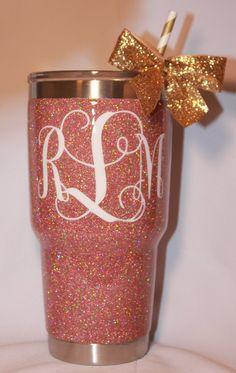 SOLID Glitter Yeti Rambler with Monogram by TheGlitteringGirls