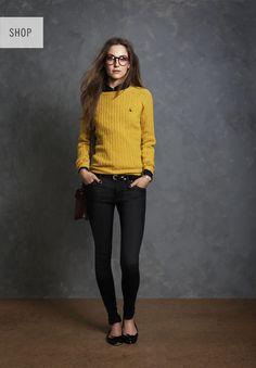 Skinny jeans, cable knit sweater, flats. #karastyleswardrobestylist karastyles.com