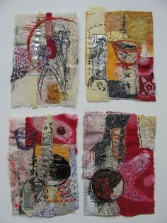 Image result for artist applique fabric mixed media collage quilt on canvas