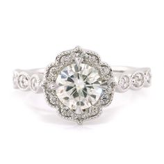 I want this so bad... Vintage Style Moissanite Engagement Ring - Maria