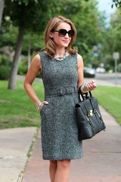 Fashionable work outfits for women : I like being a woman, even in a man's world. After all, men can't wear dresses, but we can wear the pants.