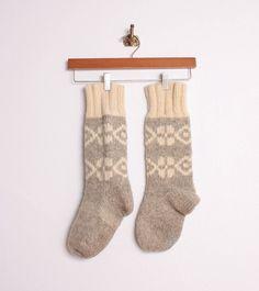 Vintage Hand Knit Fair Isle Wool Socks