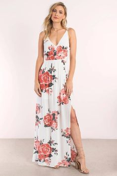 "Search ""In Mind Rose Print Maxi Dress"" on Tobi.com! surplice wrap look cinched waist flowy cami strap deep v plunge plunging neckline slit thigh splice rose watercolor patterned dress white beachy #ShopTobi #fashion #summer #spring #vacation Basic outfit simple easy chic fashionable stylish style fashion vacation travel essential capsule wardrobe must have casual comfy comfortable trendy spring summer shop buy cheap inexpensive ideas for women teens cute edgy closet fall college outfit…"