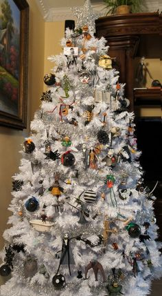 "From Greg Horn's custom Nightmare Before Christmas tree. ""The Nightmare before Christmas tree! Dark Christmas, Disney Christmas, Christmas Themes, All Things Christmas, Christmas Holidays, Christmas Crafts, Themed Christmas Trees, Christmas Ornaments, Christmas Sweaters"