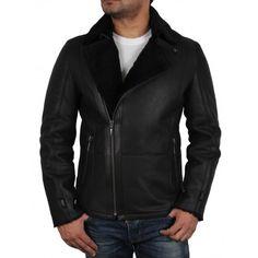 Men's Luxury Double Aviator Black Real Shearling Sheepskin Leather Flying Jacket Coat - Fay - Brandslock
