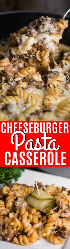Cheeseburger Pasta Casserole is loaded with your favorite cheeseburger ingredients like ground beef, onion, mushrooms, ketchup, mustard, cheese and pickles. Replacing the bun with cheesy pasta creates a fun twist on this traditional favorite! #centslessmeals #casserole #groundbeef #cheeseburger #pasta #weeknightmeal #easyrecipe