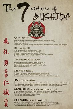 samurai Poster - the 7 virtues of bushido You are in the right place about Martial Arts Quot Samurai Warrior Tattoo, Warrior Symbol Tattoo, Samourai Tattoo, Wisdom Quotes, Life Quotes, Ronin Samurai, Bushido, Arte Ninja, Martial Arts Quotes