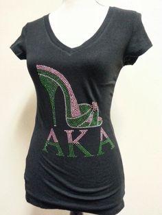 AKA sorority Bling rhinestone  tshirt by sheissarah on Etsy, $24.99
