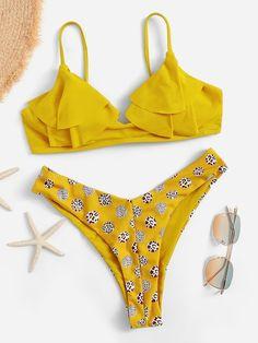 39b9710f4ee 2019 Bikini One Shoulder Swimsuit Female Swimwear Women Two pieces ...