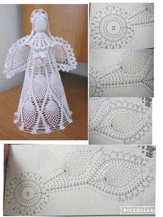 Crochet Christmas Angels Baptism gift Lace Angel ornament Tree decoration Home decor Wedding gift religious gift Diy Christmas Angel Ornaments, Crochet Ornaments, Crochet Snowflakes, Christmas Angels, Crochet Crafts, Crochet Doilies, Crochet Projects, Christmas Crafts, Ornament Tree