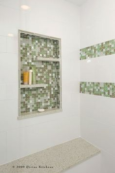 clever idea - full alcove inside the shower, with shelves; even more clever because of the contrast tile!