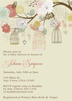 Printable Baby Shower Invitation - Vintage Birdcages. $10.00, via Etsy.