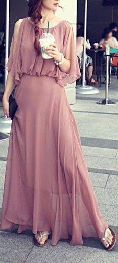 Blush Simple Style Prom Dress Chiffon Long Prom dress