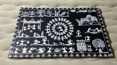 "Warli painting on a 24""x36"" canvas,  hand painted with a 0.00 brush and acrylic paint."