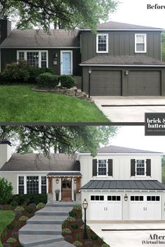 Questions Answered About Home Exterior Siding Are you replacing your home exterior sideing? We've got your questions about home exterior siding answered! It's a huge project emotionally and financially. Café Exterior, Exterior Remodel, Exterior House Colors, Exterior Paint, Exterior Design, Interior And Exterior, Exterior Shutters, Bungalow Exterior, Craftsman Bungalows