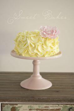 Gorgeous Cake -  Yellow Ruffle Cake with a handmade Pink Peony!
