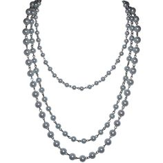 White pearl and silver multiple strand necklace ($30) ❤ liked on Polyvore featuring jewelry, necklaces, jewelry necklaces, pearls, long pearl necklace, white pearl necklace, pearl necklace, silver multi chain necklace and multiple strand pearl necklace