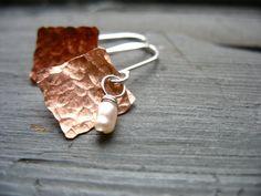 Pearl Earrings Handmade Metalwork Pearl by LuminousCreation