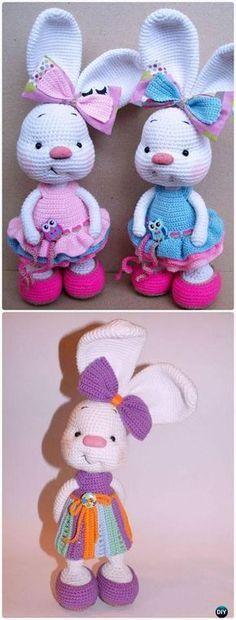 Crochet Rabbit Crochet Amigurumi Bunny In Dress Toy Free Patterns Crochet Easter, Easter Crochet Patterns, Crochet Bunny Pattern, Cute Crochet, Knit Crochet, Crochet Stitches, Crotchet, Crochet Beanie, Crochet Gratis