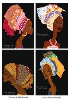 African Woman Series I stickers by ~raul-guerra Curly, afro, ebony, black, kinky, wavy, rasta, natural hair...www.facebook.com/gonaturalspain