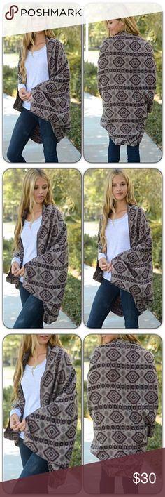 "Bohemian Ruana Kimono Cardi Wrap O/S Adorable & cozy bohemian woven jacquard kimono with armholes. Black, brown & taupe lightweight 100% acrylic knit. Length 39"" long oversized slouchy Sweaters Cardigans"