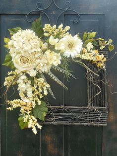 "SALE...SALE...SALE... Spring / Summer Grapevine Wreath -  ""Spring's Here""... All year round square grapevine wreath, Mother's Day gift"