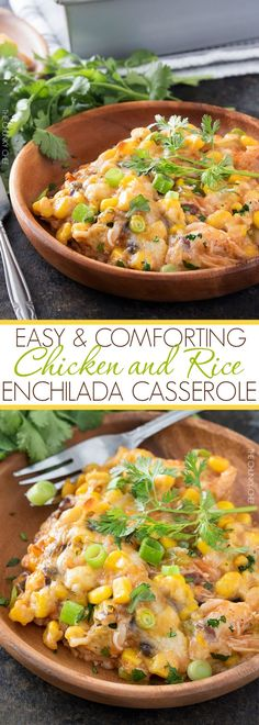 Chicken and Rice Enchilada Casserole | This hearty enchilada casserole uses…